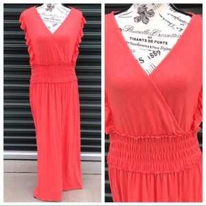 Time and Tru Orange Maxi Dress Size XL